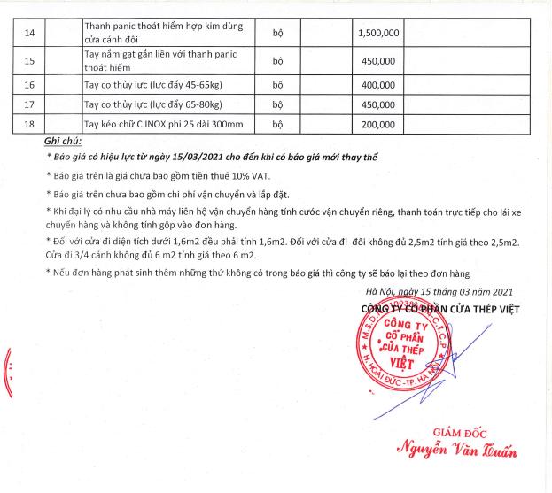 Bảng giá cửa thép vân gỗ và phụ kiện tại Cửa Thép Việt