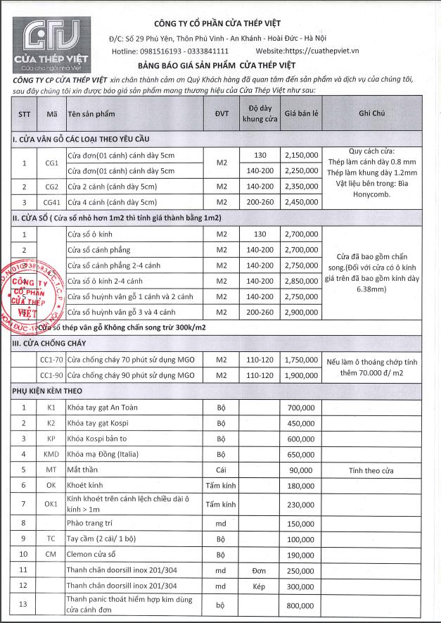 Bảng giá cửa thép vân gỗ tại Cửa Thép Việt