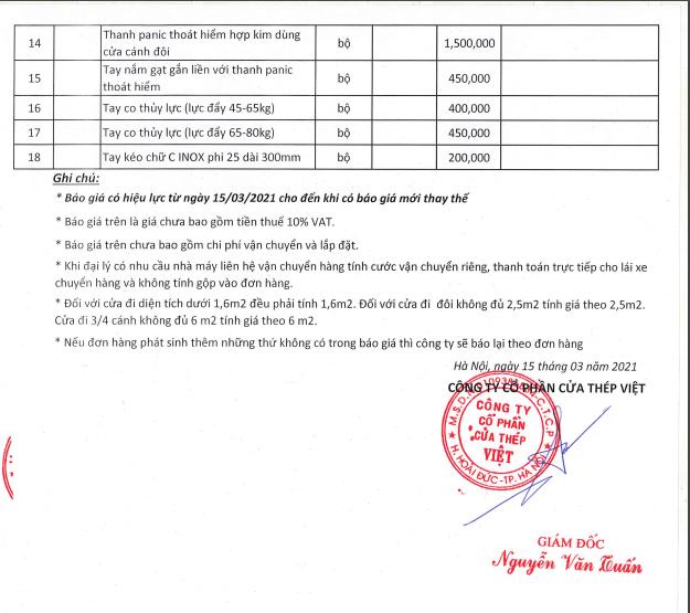 Bảng giá cửa thép chống cháy và phụ kiện tại Cửa Thép Việt