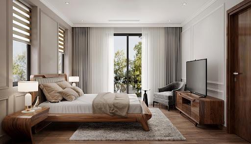 Bố trí phòng ngủ hiện đại với các đồ vật nội thất gỗ mộc mạc gần gũi