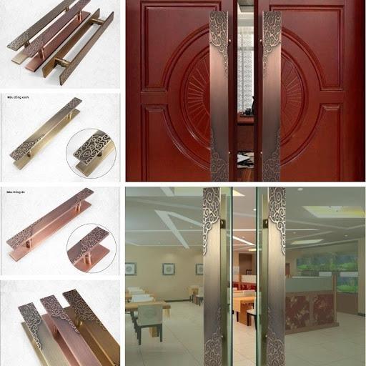 Tay nắm cửa đi cho cửa gỗ và cửa kính với hoa văn cổ điển